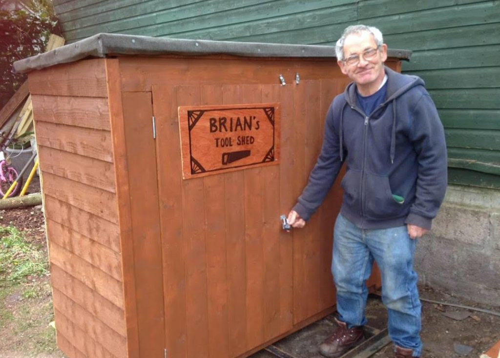 Brian with his new shed